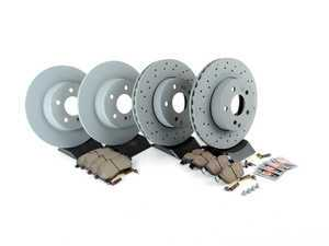 ES#2807158 - 2044212812KT9 - Front & Rear Brake Service Kit  - Featuring Genuine Mercedes-Benz Rotors and Akebono-Euro Ceramic Pads - Assembled By ECS - Mercedes Benz