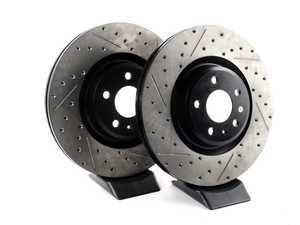 ES#3191612 - 127.33138KT - Front Drilled & Slotted Brake Rotors - Pair (345x30) - Upgrade your stopping power - StopTech - Audi