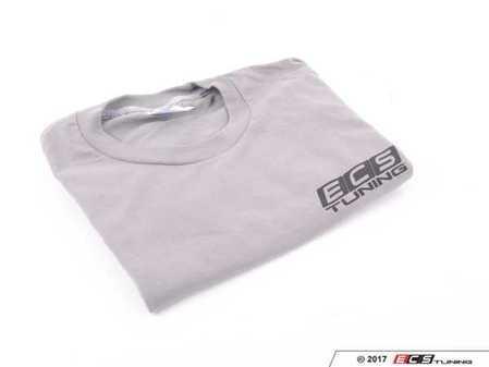 ES#3411387 - 6060352 - Gray ECS Short Sleeve T-Shirt - Medium - Featuring black ECS Tuning logo on left chest and full back - ECS - Audi BMW Volkswagen Mercedes Benz MINI Porsche
