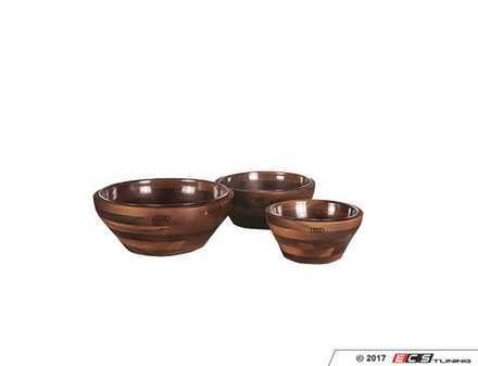 ES#3232692 - ACMH653 - Audi Carovana Nested Bowl Set - Set of three beautiful acacia bowls, each with its own tempered glass bowl. - Genuine Volkswagen Audi - Audi BMW Volkswagen Mercedes Benz MINI Porsche
