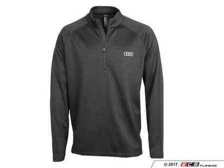 ES#3440016 - ACM2342BLK2X - Cross Hatch Pullover - Black - 2X-Large - Audi rings embroidered. - Genuine Volkswagen Audi - Audi BMW Volkswagen Mercedes Benz MINI Porsche