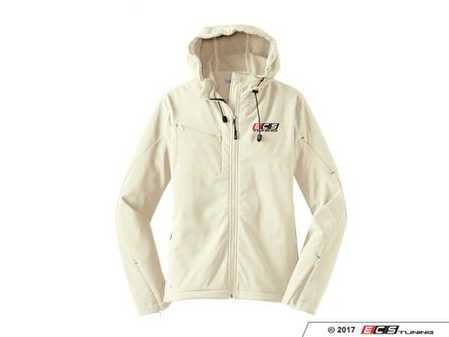 ES#3411289 - 6060134 - White ECS Ladies Soft Shell Jacket - XL - Featuring full color embroidered ECS Tuning logo on left chest - ECS - Audi BMW Volkswagen Mercedes Benz MINI Porsche