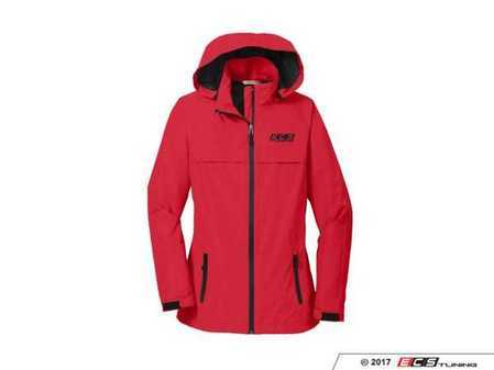 ES#3411304 - 6060164 - Red ECS Ladies Waterproof Jacket - XL - Featuring black embroidered ECS Tuning logo on left chest - ECS - Audi BMW Volkswagen Mercedes Benz MINI Porsche