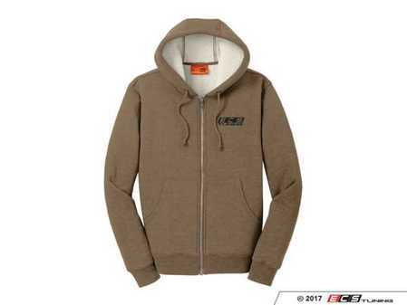 ES#3411314 - 6060185 - Brown ECS Sherpa Fleece Jacket - 2X - Featuring black embroidered ECS Tuning logo on left chest - ECS - Audi BMW Volkswagen Mercedes Benz MINI Porsche