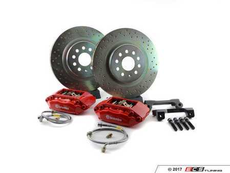 ES#2849239 - 1A4.6008A2 - Brembo GT Front Big Brake Kit - 1 Piece Drilled Rotors (330x28) - Featuring Red 4 piston calipers, stainless brake lines, and Brembo Sport brake pads - Brembo - Volkswagen