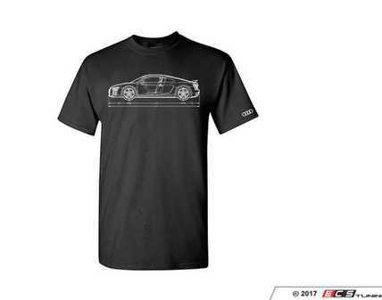 ES#3232533 - ACM3007BLK3X - R8 Measurements T-Shirt - 3xLarge - Black. Audi R8 line drawing in white with Audi four rings logo in white on left sleeve. Classic Fit. - Genuine Volkswagen Audi - Audi BMW Volkswagen Mercedes Benz MINI Porsche