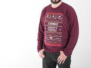 ES#3470715 - 6060474 - Maroon ECS 'Ugly Christmas Sweater' - XL - (NO LONGER AVAILABLE) - Long Sleeve T-Shirt with 3-color silk screen graphic - ECS - Audi BMW Volkswagen Mercedes Benz MINI Porsche