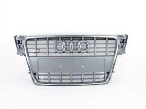 ES#517354 - 8K0853651D1RR - S4 Front Grille - Platinum Grey With Chrome Trim - Complete grille assembly with emblem - Genuine Volkswagen Audi - Audi
