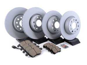 ES#3184528 - 1k0615301aa22KT - Front & Rear Premuim Brake Service Kit - Featuring Zimmermann rotors and Akebono Euro Ceramic brake pads - Assembled By ECS - Audi