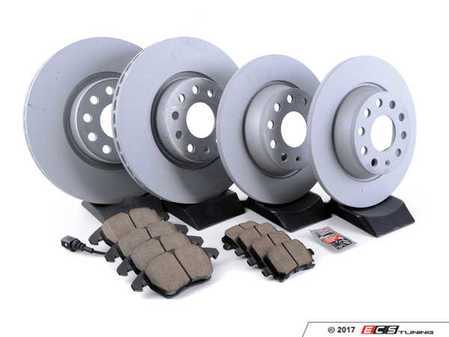 ES#3184528 - 1k0615301aa22KT - Front & Rear Premuim Brake Service Kit - Featuring Zimmermann rotors and Akebono Euro Ceramic brake pads - Assembled By ECS - Audi