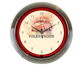 ES#3417192 - DRG009993 - VW Beetle Neon Clock  - Give your home the fabulous glow of real neon! - Genuine Volkswagen Audi - Volkswagen