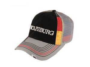 ES#2989941 - DRG014287 - Wolfsburg Flag Cap  - Wolfsburg embroidered on front in white. Black with red and yellow accents. Mesh Back. - Genuine Volkswagen Audi - Volkswagen