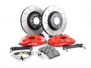 ES#3049096 - 82.133.5100.72 - StopTech front 4 piston big brake kit (325x28mm)  - Comes with 4 piston red calipers, single piece uncoated drilled rotors and stainless steel brake lines. - Includes brackets and mounting bolts - StopTech - BMW