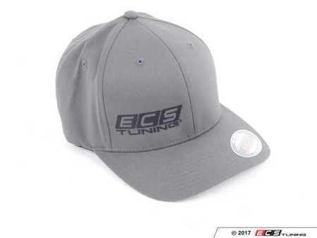ES#3411264 - 6060030 - Gray ECS Flexfit Cap - L / XL - Featuring black embroidered ECS Tuning logo on right panel - ECS - Audi BMW Volkswagen Mercedes Benz MINI Porsche