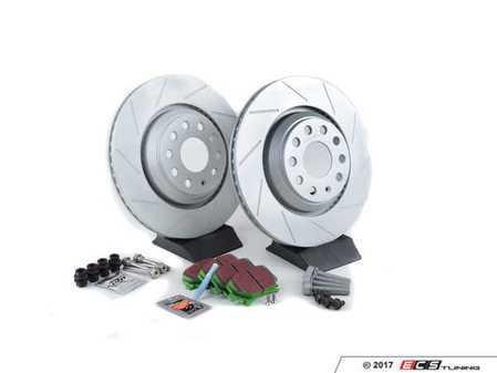 ES#2893849 - 1K0615601N1KT - Performance Rear Brake Service Kit - Featuring ECS GEOMET slotted rotors and EBC GreenStuff pads - Assembled By ECS - Volkswagen