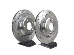 ES#3477510 - EBR1414XPR - Evolution Tru-Cast Drilled And Slotted Rotor Pair - Rear (330x20) - Performance rotors built to cool quickly and prevent corrosion for years of rough us and abuse. - Power Stop - BMW