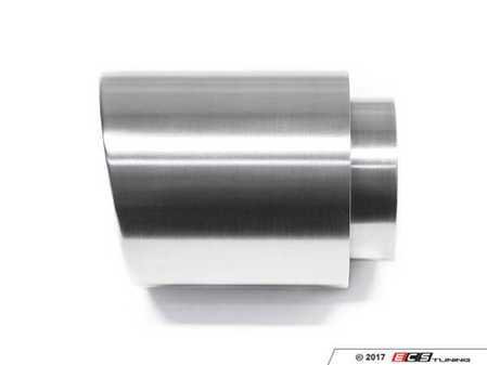 "ES#3508488 - EX-91-62WBR - 4.0"" Weld On Exhaust Tip - Brushed - Stainless Steel exhaust tip featuring weld on attachment. 3"" Inlet / 4"" Double Wall, Slant Cut Outlet - 42 Draft Designs - Audi BMW Volkswagen"