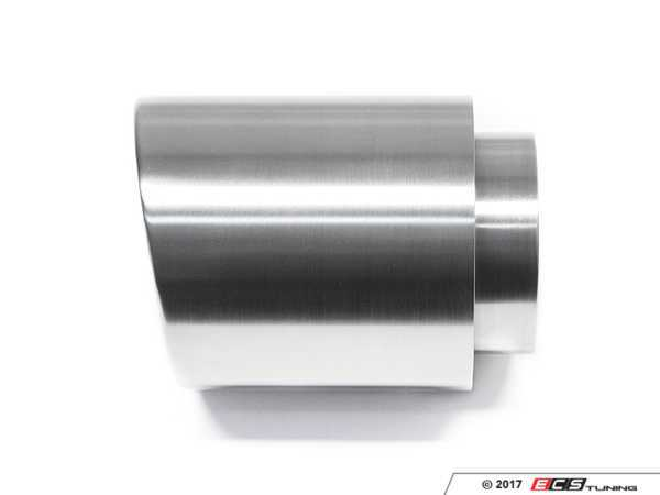 """ES#3508488 - EX-91-62WBR - 4.0"""" Weld On Exhaust Tip - Brushed - Stainless Steel exhaust tip featuring weld on attachment. 3"""" Inlet / 4"""" Double Wall, Slant Cut Outlet - 42 Draft Designs - Audi BMW Volkswagen"""