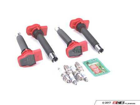 ES#3464404 - 06E905115Fkt5 - Ignition Service Kit - Includes four Bosch red coil packs and four Bosch double platinum spark plugs - Assembled By ECS - Audi Volkswagen