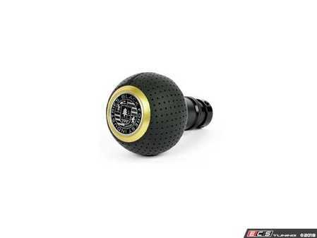 ES#3524749 - GS2DGS-G - BFI Heavy Weight Shift Knob SCHWARZ - Air Leather - Gold Top  - Just because your car doesn't have a third pedal, doesn't mean you should be stuck with some goofy shifter. - Black Forest Industries - Audi Volkswagen