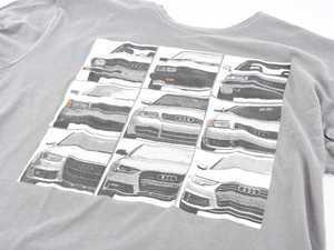 ES#3232564 - ACM3011GRYXL - Audi B Evolution T-Shirt - XLarge - Take a walk through time with the evolution of the Audi B Series - Genuine Volkswagen Audi - Audi BMW Volkswagen Mercedes Benz MINI Porsche