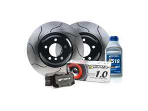 ES#3536343 - SP10.1260.R133 - Sparta SP10 Performance Brake Package - Front - Includes GP-1 S-slotted rotors and Sparta SPP 1.0 brake pads for noticeably upgraded braking performance. - Sparta Evolution - BMW
