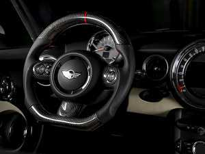 ES#3450862 - MC2-CFS-B - MINI Cooper Carbon Fiber Flat Bottom Steering Wheel Gen 2  - Hand made carbon fiber inserts on the top and bottom with perforated leather/red stitching on the sides - Euro Impulse - MINI