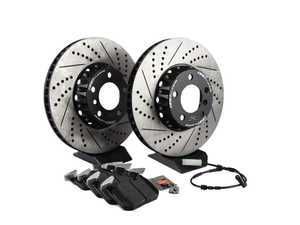 ES#3536418 - 014586ecsKT1 - Performance Front Brake Service Kit - Direct bolt-on 2pc cross-drilled and slotted replacement offering a 3.5lbs weight savings per rotor and Hawk 5.0 pads for improved braking, handling, and ride quality! - Assembled By ECS - BMW