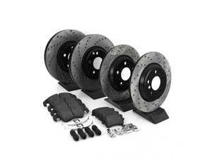 ES#3224004 - 935.33005 - Street Performance Axle Pack Service Kit - Drilled & Slotted - Front & Rear  - Featuring Stoptech Drilled & Slotted rotors and Stoptech Street pads - StopTech - Audi