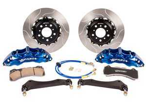 ES#3543594 - SPR.V5.5119.ASB - Triton R Front Big Brake Kit (355x34) - Blue Anodize - Featuring Spartan Evolution's massive Triton R 6-Piston forged calipers and high quality 355x34 2-Piece rotors for the best braking performance possible, both on and off of the track! - Sparta Evolution - Audi