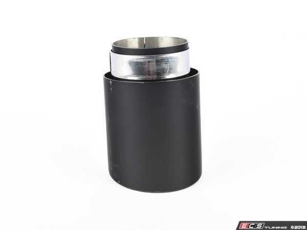 """ES#3508486 - EX-91-62CMB - 4.0"""" Clamp On Exhaust Tip - Matte Black - Stainless Steel exhaust tip featuring clamp on attachment. 3"""" Inlet / 4"""" Double Wall, Slant Cut Outlet - 42 Draft Designs - Audi BMW Volkswagen"""