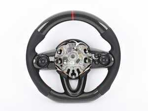 ES#3450861 - MC3-CFS - MINI Cooper Carbon Fiber Flat Bottom Steering Wheel Gen 3 - Hand made carbon fiber inserts on the top and bottom with perforated leather/red stitching on the sides - Euro Impulse - MINI