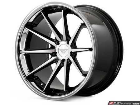 "ES#3550965 - fr4221055112KT3 - 22"" FR4 Style Wheels - Staggered Set Of Four - 22x10.5"" et40 / 22""x9"" ET30 66.6CB 5x112 Machine Black With Chrome Lip - Ferrada Wheels - Audi"