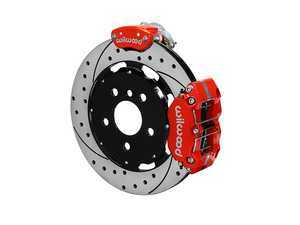 ES#3546969 - 140-15219-DR - Wilwood Dynapro Radial4 / MC4 Rear Kit 12.19 Drilled Red - Featuring 4 piston calipers, 2 piece rotors, stainless brake lines, parking brake conversion, and performance brake pads - Wilwood - MINI