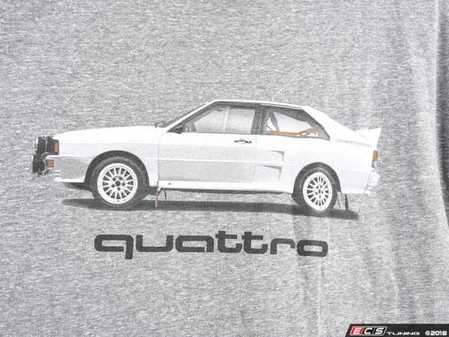 ES#3232550 - ACM3009GRYXL - Rally Car quattro T-Shirt - XLarge - Rally car design on front in black and white with Audi four rings logo on left sleeve in white. Classic Fit. - Genuine Volkswagen Audi - Audi BMW Volkswagen Mercedes Benz MINI Porsche
