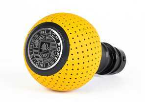 ES#3553010 - GS2SYT -  Heavy Weight Shift Knob - Giallo Taurus Yellow Air Leather - Schwarz - Weighing in at approximately 215 grams the added inertial mass makes shifting effort substantially less while speeding up the process at the same time. - Black Forest Industries - Audi Volkswagen
