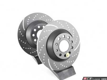 ES#521636 - GD1393 - Rear Dimpled & Slotted Brake Rotors - Pair (302x12) - Upgrade to a slotted / dimpled rotor for improved braking - EBC - Audi