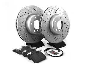 ES#3552990 - 010761ECSKT - Performance Front Brake Service Kit - (340x30) - Featuring ECS GEOMET cross drilled and slotted rotors and Hawk HPS 5.0 pads - Assembled By ECS - BMW