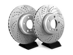 ES#3552994 - 010761ecs02aKT - Front Cross Drilled & Slotted Brake Rotors - Pair (340x30) - Featuring GEOMET protective coating offering superior rust protection for long lasting, great looking rotors. - ECS - BMW