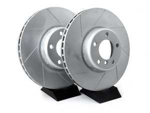 ES#3553035 - 010761ecs02aKT1 - Front Cross Slotted Brake Rotors - Pair (340x30) - Featuring GEOMET protective coating offering superior rust protection for long lasting, great looking rotors. - ECS - BMW