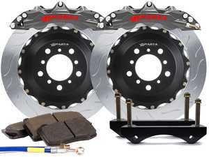 ES#3543595 - SPR.V5.5119.ASG - Triton R Front Big Brake Kit (355x32) - Stealth Grey  - Featuring lightweight Triton R 6-Piston forged and anodized calipers, with high quality 2-Piece Pegasus rotors for optimal braking, on and off of the track! - Sparta Evolution - Audi