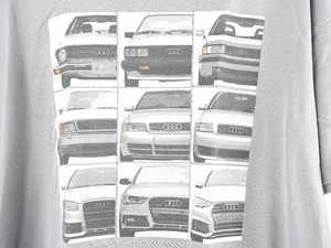 ES#3232559 - ACM3011GRY2X - Audi B Evolution T-Shirt - 2X-large - Take a walk through time with the evolution of the Audi B Series - Genuine Volkswagen Audi - Audi BMW Volkswagen Mercedes Benz MINI Porsche