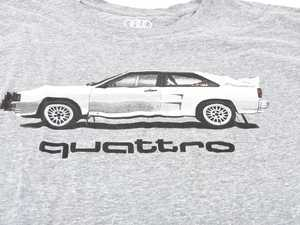 ES#3232545 - ACM3009GRY2X - Rally Car quattro T-Shirt - 2X-Large - Rally car design on front in black and white with Audi four rings logo on left sleeve in white. Classic Fit. - Genuine Volkswagen Audi - Audi BMW Volkswagen Mercedes Benz MINI Porsche