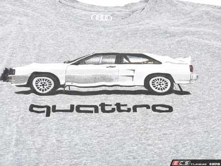 ES#3232545 - ACM3009GRY2X - Rally Car quattro T-Shirt - 2X-Large - (NO LONGER AVAILABLE) - Rally car design on front in black and white with Audi four rings logo on left sleeve in white. Classic Fit. - Genuine Volkswagen Audi -
