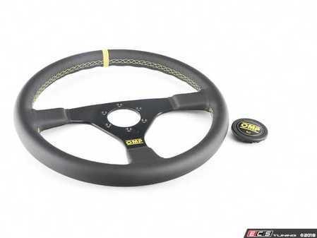 ES#3192148 - OD/1957 - Velocita Racing Steering Wheel - Black/Yellow Leather - Universal sport steering wheel with a 350mm diameter. - OMP - BMW