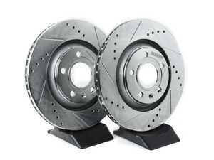 ES#3155007 - EBR1014XPR - Rear Cross Drilled & Slotted Brake Rotors - Pair (300x22) - Upgrade to a slotted / cross-drilled rotor for improved braking - Power Stop - Audi