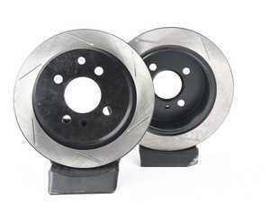 ES#3524827 - 025997ecs0148KT - Rear V4 Slotted Brake Rotors - Pair (258x10) - Precision manufactured and featuring an electrostatic rust-inhibiting coating - ECS - BMW