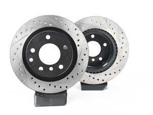 ES#3524452 - 025997ecs044KT - Rear V4 Cross Drilled & Slotted Brake Rotors - Pair (300x20) - Precision manufactured and featuring an electrostatic rust-inhibiting coating - ECS - BMW