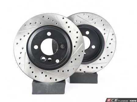 ES#2594717 - 34111502891XSKT - Performance Front Brake Service Kit - Featuring ECS V4 Slotted/Drilled rotors and Hawk HPS pads - Assembled By ECS - MINI
