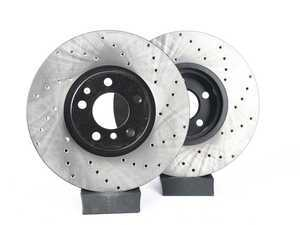 ES#3524344 - 025997ecs02KT - Front V4 Cross Drilled Brake Rotors - Pair (348x30) - Precision manufactured and featuring an electrostatic rust-inhibiting coating - ECS - BMW